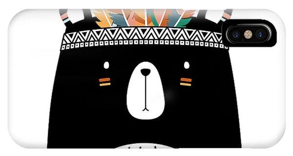 Cute Tribal Bear - Boho Chic Ethnic Nursery Art Poster Print IPhone Case