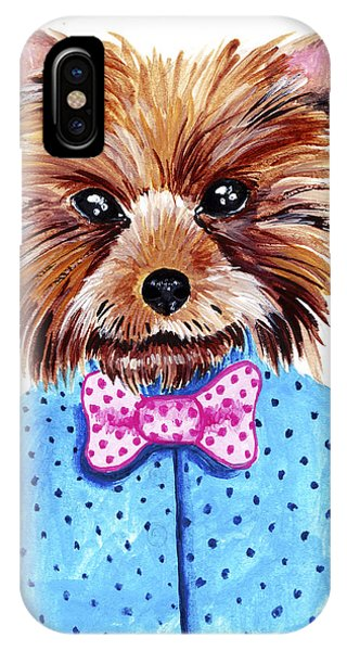 Small Dog iPhone Case - Cute Watercolor Yorkshire Terrier by Maria Sem
