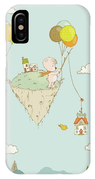 Lavender iPhone Case - Cute Whimsical Bear Fishing In The Sky by Matthias Hauser