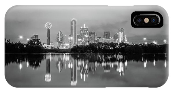 Dallas Cityscape Reflections Black And White IPhone Case