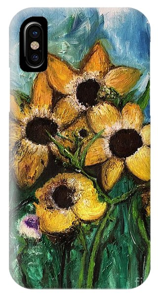 IPhone Case featuring the painting Dancing Flowers by Laurie Lundquist