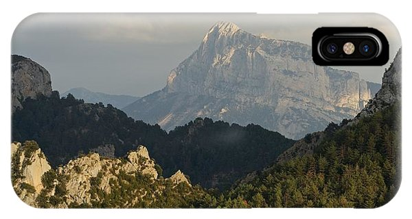 IPhone Case featuring the photograph Dappled Light On Pena Montanesa by Stephen Taylor