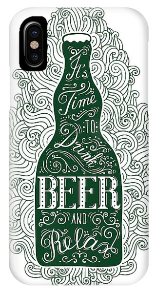 Irish iPhone Case - Dark Green Beer Bottle With Lettering by Shevalierart