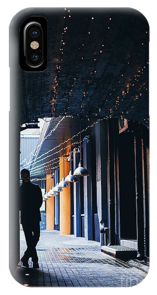 Adult iPhone Case - Dark Silhouette Of Man In Tunnel With by Popovartem.com
