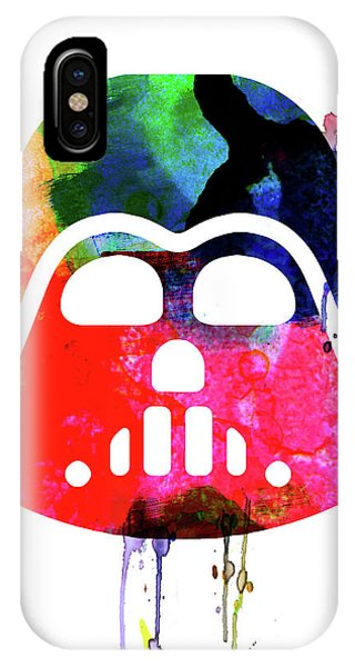 Film iPhone Case - Darth V Helmet Cartoon Watercolor by Naxart Studio