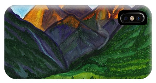 Evening Illumination Of Snowy Mountain Peaks With Waterfalls And A Mountain River IPhone Case