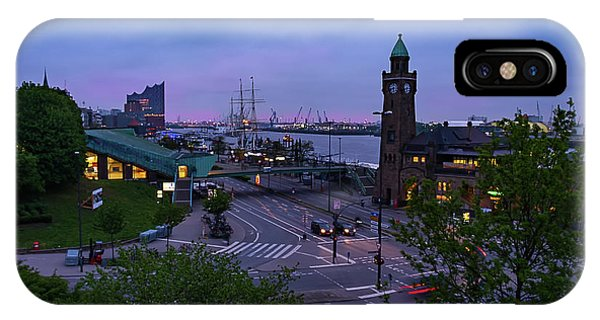 Dawn Over The Port And City Hamburg Panorama IPhone Case