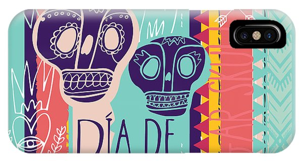 Death iPhone Case - Day Of The Dead Colorful Card. Skull by Totokumi