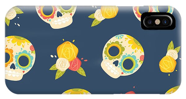 Death iPhone Case - Day Of The Dead Colorful Vector by Orangemilk