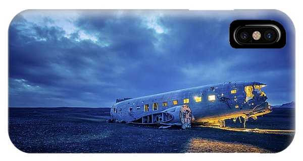 IPhone Case featuring the photograph Dc-3 Plane Wreck Illuminated Night Iceland by Nathan Bush
