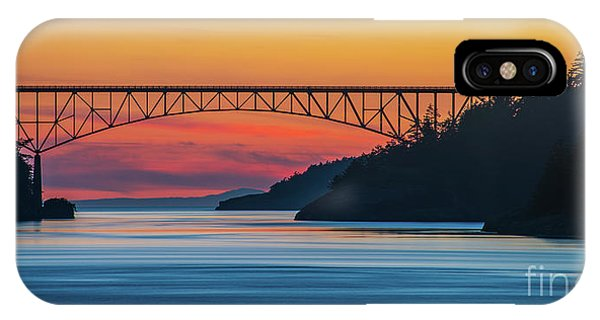 Whidbey iPhone Case - Deception Pass Bridge Evening Colors by Mike Reid