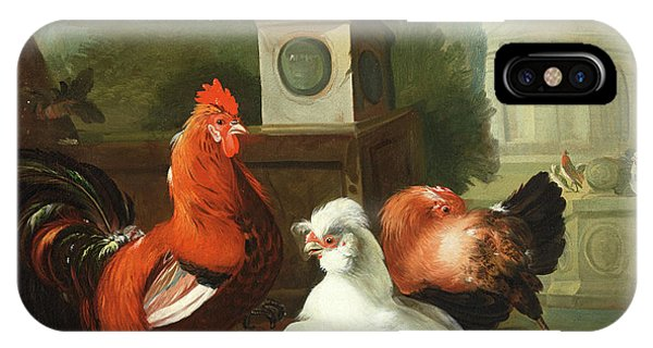 Gamecocks iPhone Case - Decorative Fowl Before A Classical Garden by Circle of Marmaduke Craddock