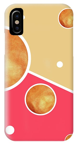 Pastel Colors iPhone Case - Deep Pink, Peach And Gold Pattern - Pastel Colors - Abstract Pattern Design - Modern, Minimal by Studio Grafiikka