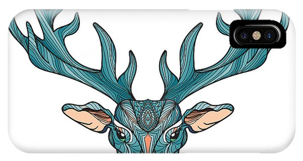 Stag iPhone Case - Deer Bright Colorful Head With Horns by Barsrsind