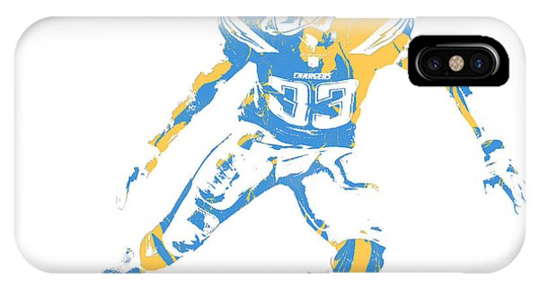 Charger iPhone Case - Derwin James Los Angeles Chargers Pixel Art 3 by Joe  Hamilton f8925d336