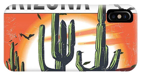 Space iPhone Case - Desert Arizona Cactus Illustration For by Yusuf Doganay