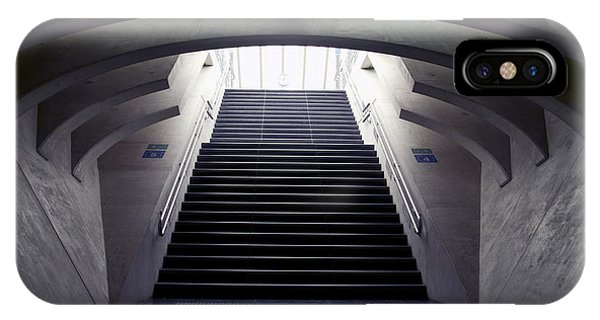 Railroad Station iPhone Case - Design Stairs To The Arrival And by Mauvries