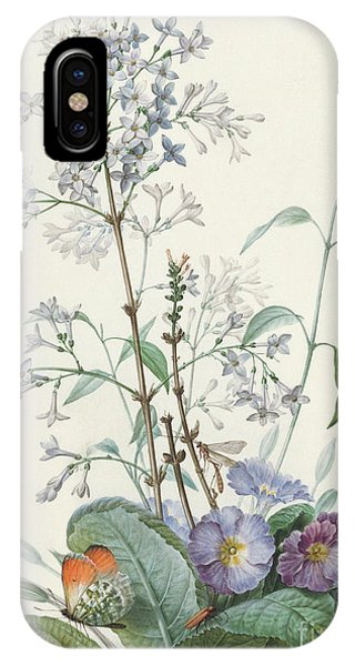 Redoute iPhone Case - Detail Of A Bouquet Of Flowers With Insects by Pierre-Joseph Redoute
