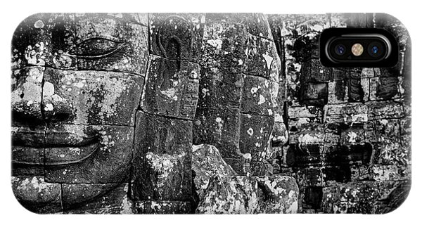 Angkor Thom iPhone Case - Detail Of Smilinle Face Carved by Panoramic Images