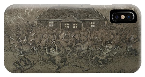 IPhone Case featuring the drawing Devil Hymn by Ivar Arosenius