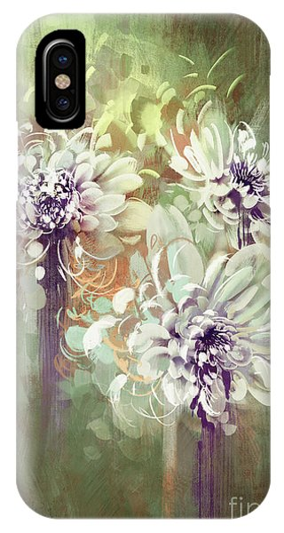 Floral iPhone X Case - Digital Painting Of Abstract by Tithi Luadthong