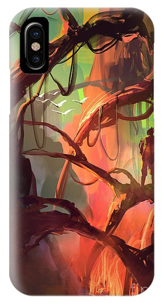 Red Rock iPhone X Case - Digital Painting Of Fantasy Trees With by Tithi Luadthong