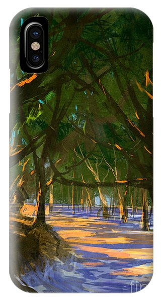Peaceful iPhone Case - Digital Painting Of Forest On The by Tithi Luadthong