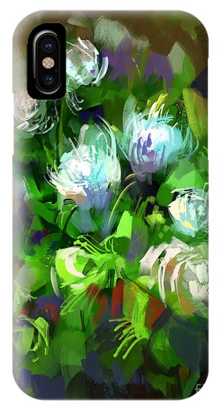 Present iPhone Case - Digital Painting Showing Bunch Of White by Tithi Luadthong