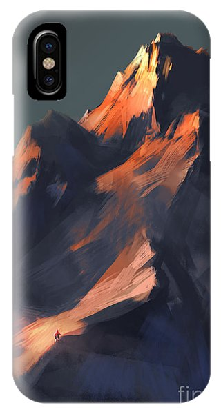 Shadow iPhone Case - Digital Painting Showing Sunset Scene by Tithi Luadthong