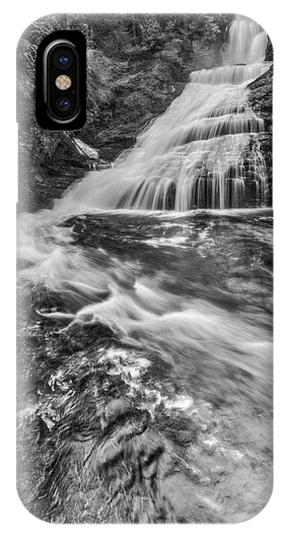 iPhone Case - Dingmans Water Falls Dwg Bw by Susan Candelario