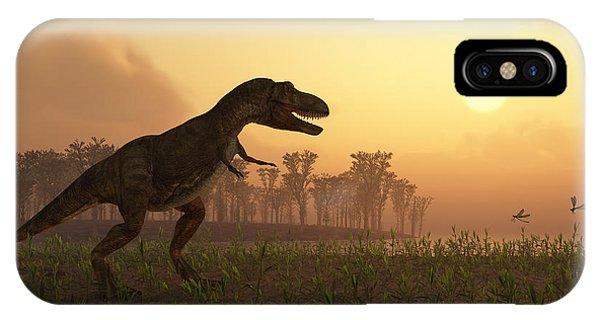 Danger iPhone Case - Dinosaur In Landscape by Photobank Gallery