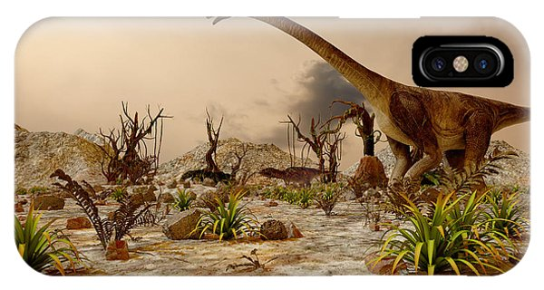 Small iPhone Case - Dinosaur. Prehistoric Jungle by Pavel Chagochkin