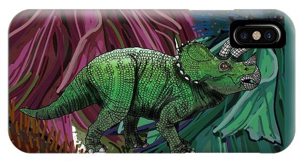 Dinosaur Triceratops Flowers IPhone Case