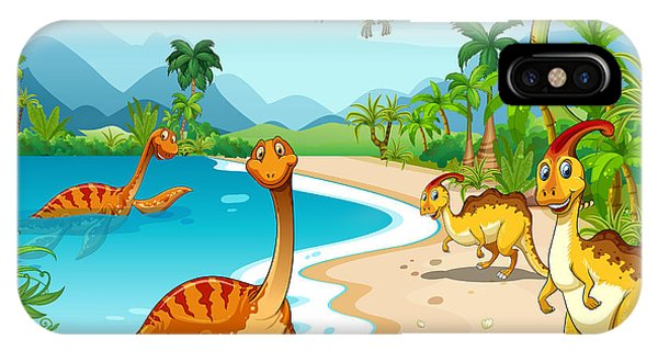Ice iPhone Case - Dinosaurs Living On The Beach by Graphicsrf