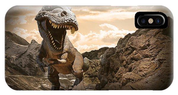 Strength iPhone Case - Dinosaurs Model On Rock Mountain by Sahachatz