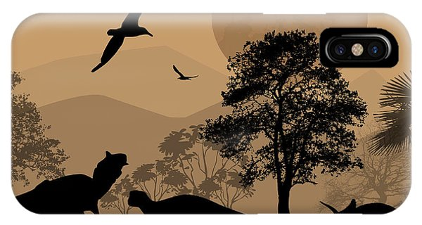 Dusk iPhone Case - Dinosaurs Silhouettes In Beautiful by Ducu59us