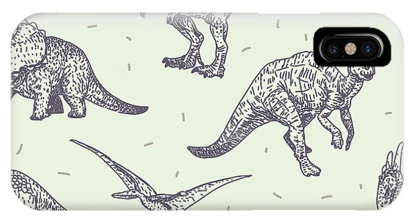 Sketch Book iPhone Case - Dinosaurs Vector Drawings Seamless by Iz Stock Works