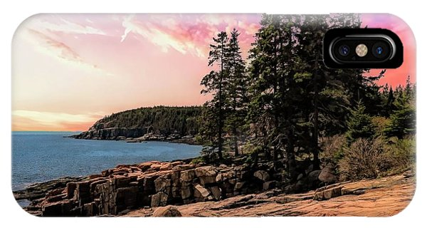 Distant View Of Otter Cliffs,acadia National Park,maine. IPhone Case