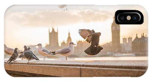 Doves And Seagulls Over The Thames In London IPhone Case