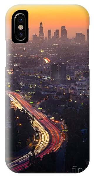 Snowy Road iPhone Case - Downtown Los Angeles Skyline At by F11photo