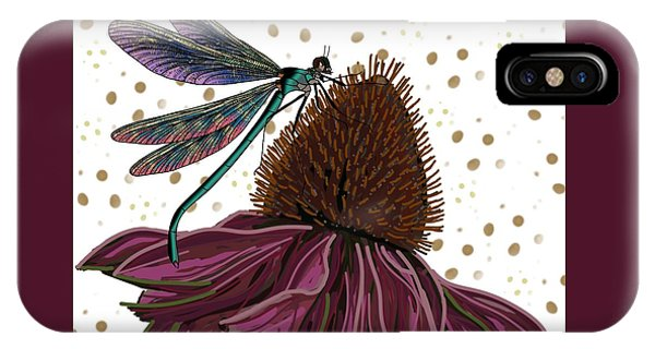 Dragon Fly And Echinacea Flower IPhone Case