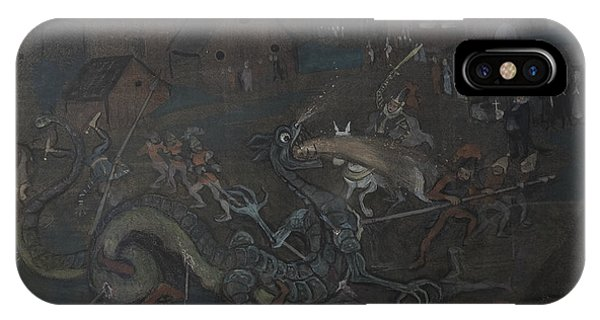 IPhone Case featuring the drawing Dragon  by Ivar Arosenius