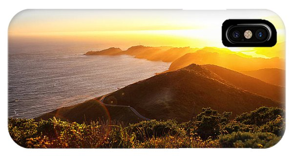 View Point iPhone Case - Dramatic Coastal Sunset With Island by N K