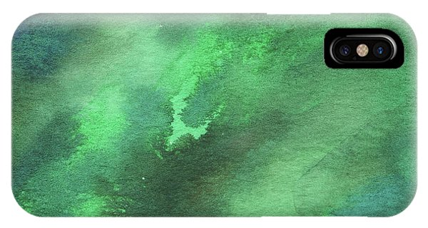 Organic Abstraction iPhone Case - Dramatic Organic Green Abstract In Watercolor  by Irina Sztukowski