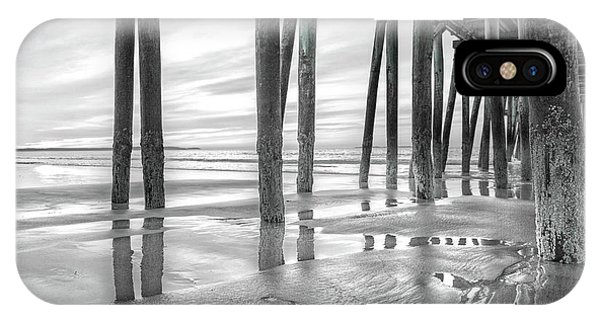 Orchard Beach iPhone Case - Dramatic Pier Sunrise In Black And White by Betsy Knapp