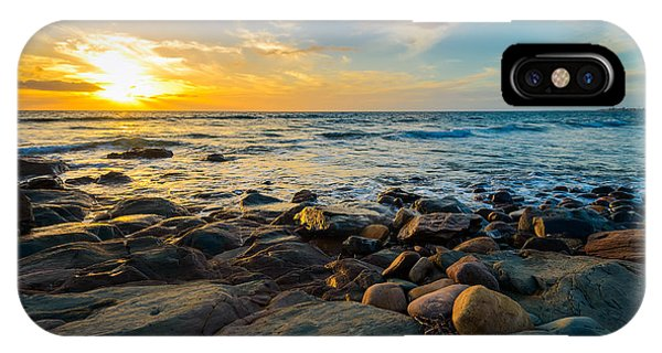Dusk iPhone Case - Dramatic Sunset On The Rocky Beach by Amophoto au