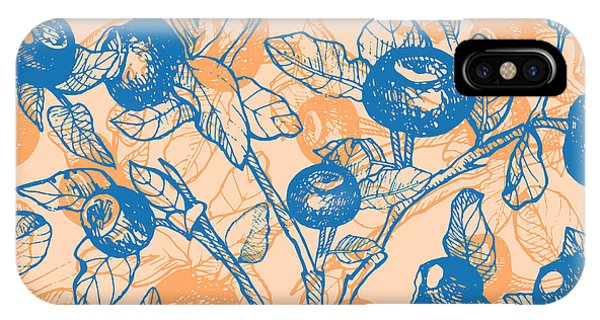Summer Fruit iPhone Case - Drawn Hand Blueberry Twigs With by Artdeeva