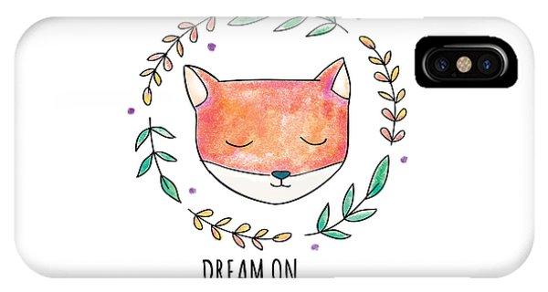 Dream On - Boho Chic Ethnic Nursery Art Poster Print IPhone Case