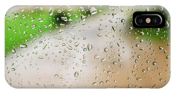 Drops Of Rain On An Autumn Day On A Glass. IPhone Case