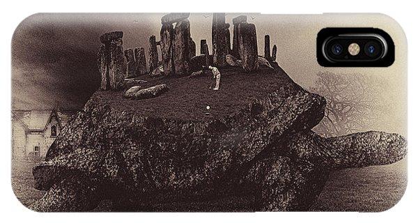 Dark Humor iPhone Case - Druid Golf Sepia by Marian Voicu